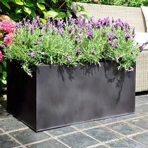 Bac à Fleurs : bac fleurs acier l100 h45 noir plantes et jardins ~ Teatrodelosmanantiales.com Idées de Décoration