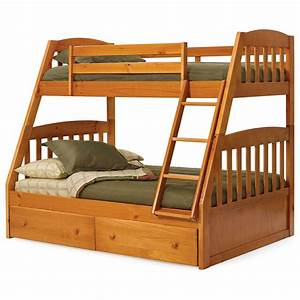 Light Brown Wooden Bunk Bed With Double Drawers Also