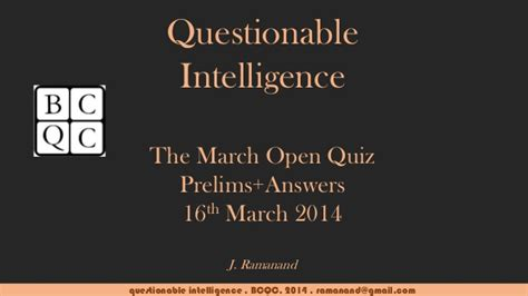 The Open Boat Quiz Answers by Bcqc Questionable Intelligence Mar 2014 Prelims With Answers