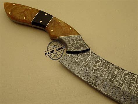 knife damascus kitchen custom steel handmade hunting chef chefs blade