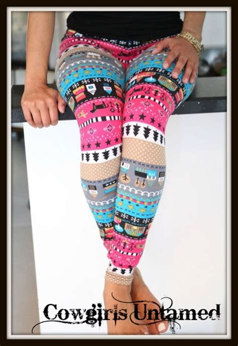 country cowgirl leggings multi color country graphics