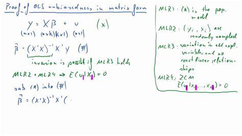 ols estimator unbiasedness  multiple regression model