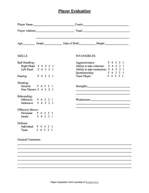 basketball player evaluation form pdf fill printable fillable blank pdffiller