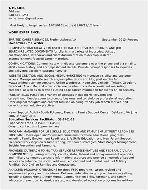 resume for federal government 2014 federal resume sle