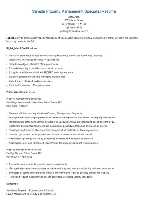 Management Specialist Resume by Sle Property Management Specialist Resume Resame Resume And Property Management