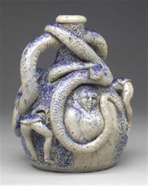 salt glazed  cobalt decorated stoneware jug anna