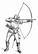 Coloring Archer Medieval Pages Drawings Archery Knight Sheets Drawing Edupics sketch template