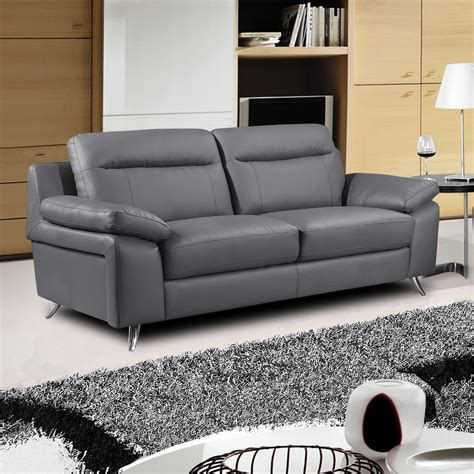 Cheap Leather Settee by Nuvola Italian Inspired Leather Grey Sofa Collection