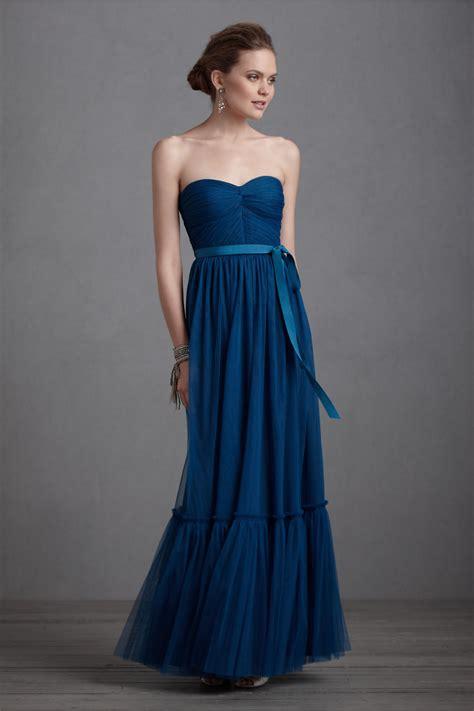 Elegant Navy Blue Bridesmaid Dress Long Gown Bhldn