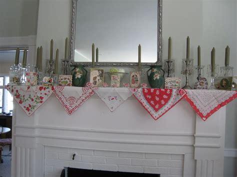 vintage hankies  decorate  mantel decor ideas