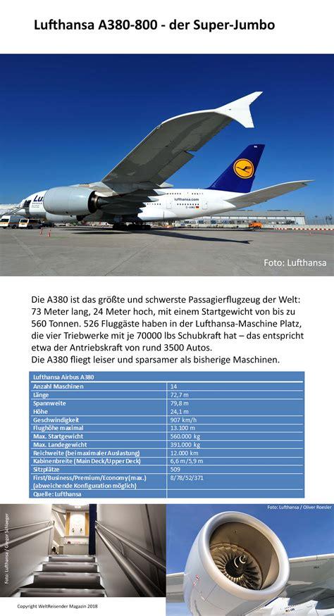 Lufthansa: Sitzplatzkonfiguration A380 Boeing 747 8 und