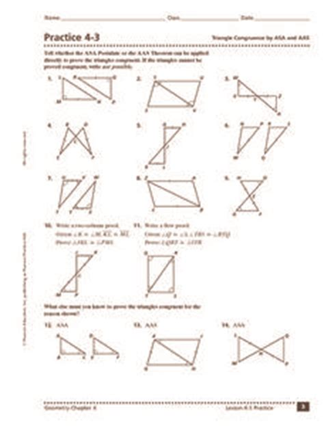practice 4 3 triangle congruence by and aas 9th 11th