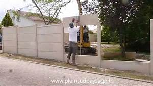 demo de pose cloture plaques beton youtube With plaque beton sol exterieur