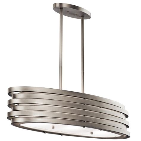 light fixtures for kitchen island kichler 43303ni roswell contemporary brushed nickel finish 7 75 quot tall kitchen island light