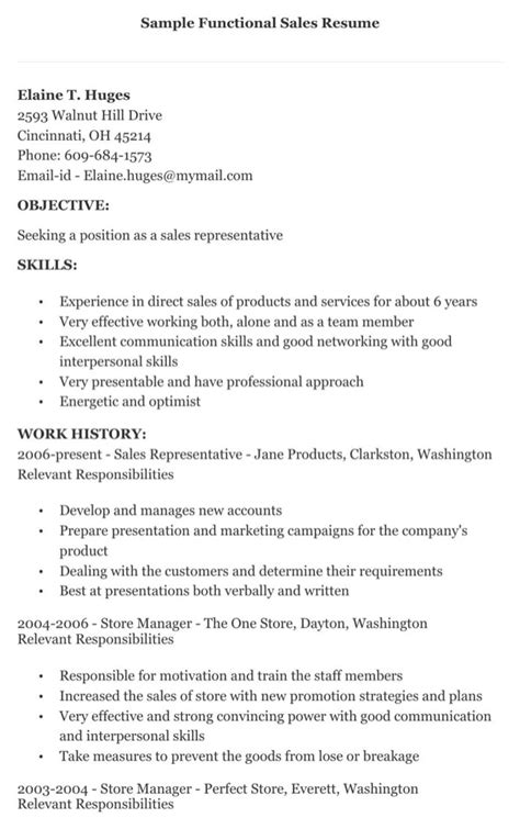 Functional Resume Sles by Sales Functional Resume Sle For Free