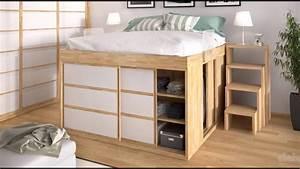 Dressing Autour Du Lit : id e d co chambre lit armoire lit sur lev youtube ~ Melissatoandfro.com Idées de Décoration