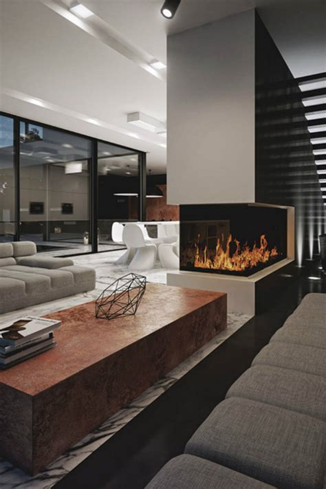 modern living room with fireplace contemporary fireplaces for luxury living rooms