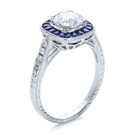 deco style blue sapphire halo and engagement 100384 bellevue seattle joseph jewelry