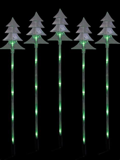 6 Green Led Tree Solar Stake Light  66cm Christmas