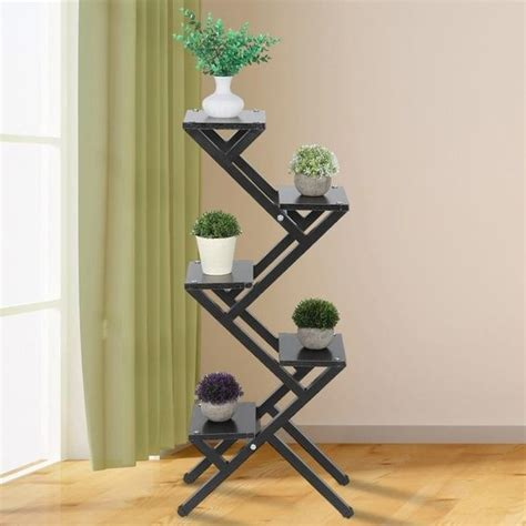tiers elegant wood floor standing plant display stand flower pot rack book shelf  home