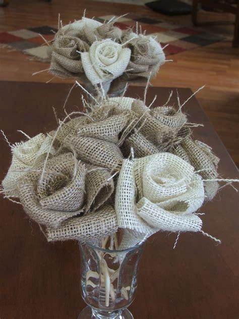 burlap flowers  stems rustic wedding decor