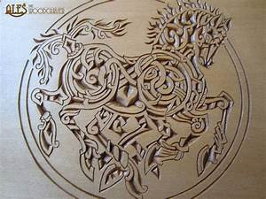 Sleipnir chip carving - detail of a trinket box by