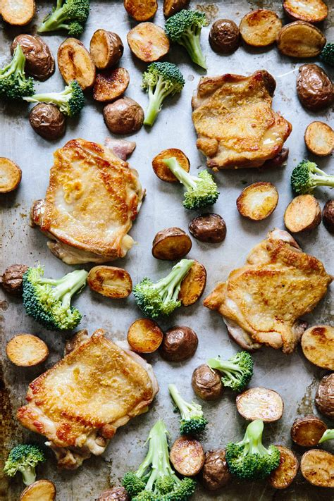 sheet dinner pan chicken roasted party vegetable meal easy recipes crappy christine han credit baking