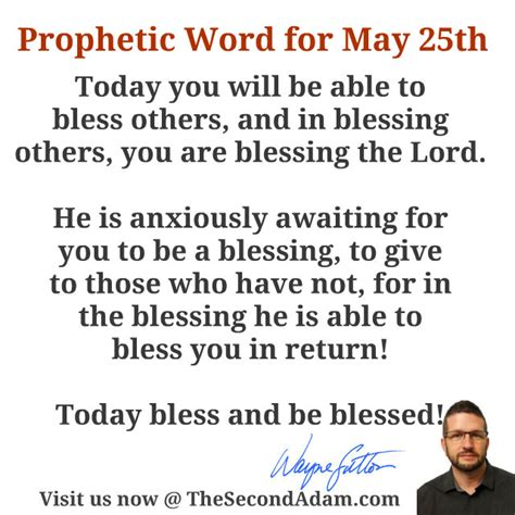May 25th Daily Prophetic Word Of God  The Second Adam