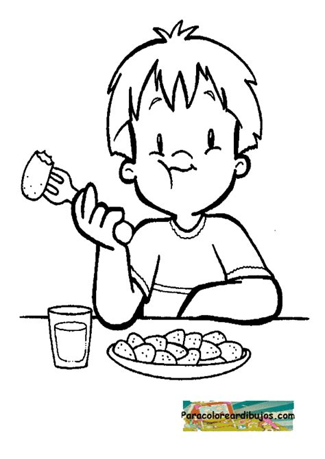 Free Coloring Pages Of Kid Eating