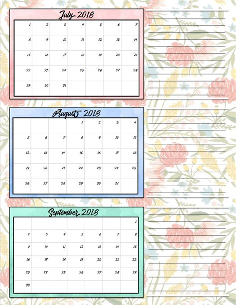 printable  quarterly calendars  designs