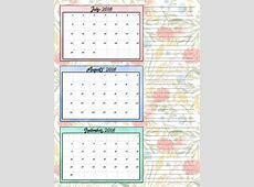 July 2018 Calendar Template Quarterly Calendar Template