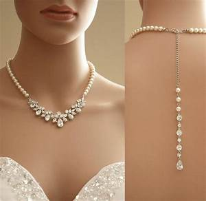 Bridal jewelry bridal backdrop necklace crystal and for Wedding ring necklace