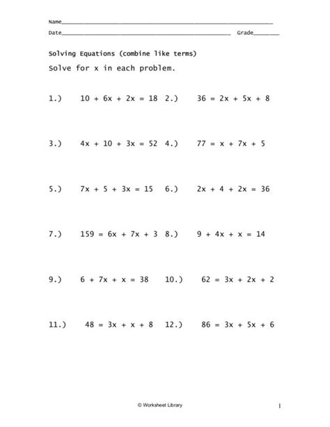Algebra Tiles Worksheet Combining Like Terms by Combining Like Terms Equations Worksheet Abitlikethis
