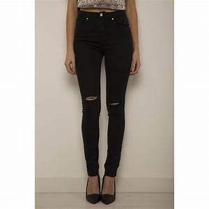 High Waisted Black Ripped Jeans - MX Jeans