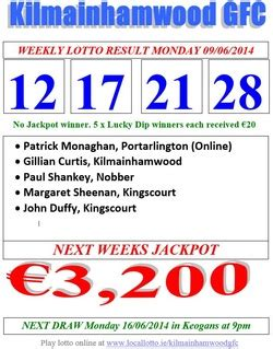 lucky dip numbers saturday 9th