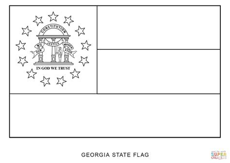 State Flag Of Georgia Coloring Page Free Printable