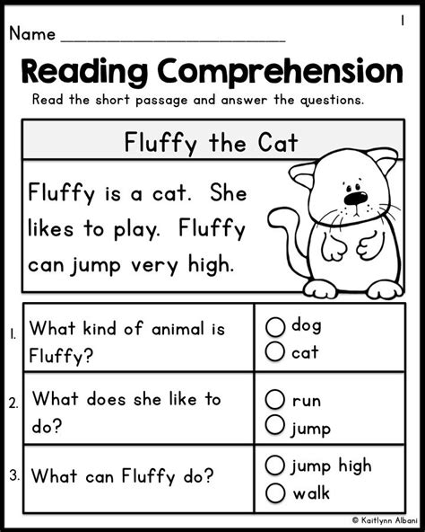 Kindergarten Reading Comprehension Passages  Set 1 Freebie  Wyatt Dean  Kindergarten Reading