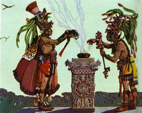 Two Mayan Priests Sacrificing A Parrot.