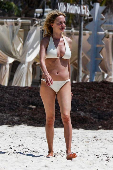 heather graham   white bikini   beach  tulum