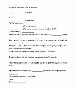 sample rental agreement letter template 8 free With free rent agreement letter
