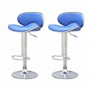 Tabouret Bar Bleu : tabouret de bar bleu x2 elite achat vente tabouret pvc ~ Teatrodelosmanantiales.com Idées de Décoration