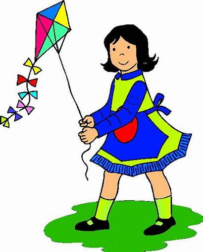 Clipart Children Clip Playing Kite Play Activities