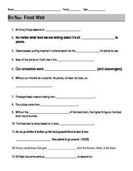 bill nye food web guide sheet by jjms teachers pay