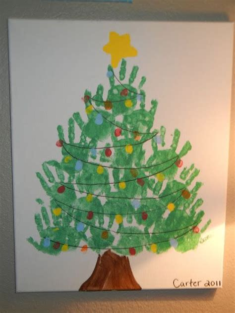 handprint christmas tree canvas love   super easy