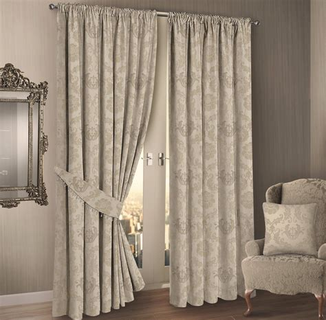 DAMASK FLORAL DESIGN JACQUARD FULLY LINED CURTAINS CREAM