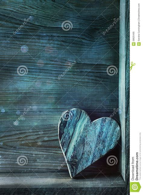 blue wooden heart  wood stock photo image