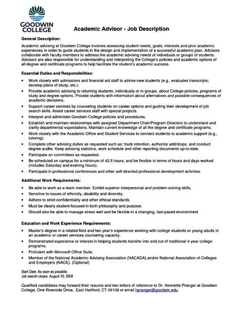 Academic Advisor Resume by Academic Resume Template For College Free Sles