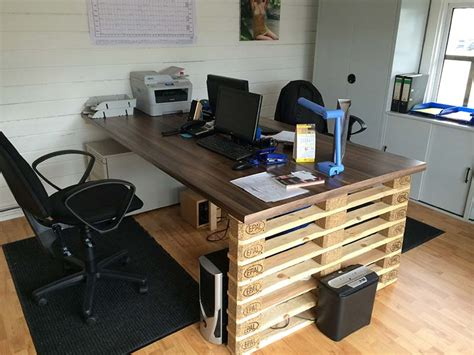 ikea professionnel bureau office desk with europalets endsdiy pallet furniture diy
