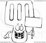 Spatula Happy Coloring Cartoon Clipart Mascot Holding Sign Outlined Vector Background Cory Thoman Clip Regarding Notes sketch template