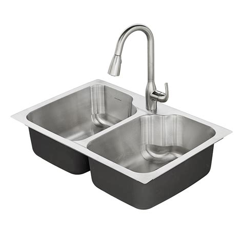 stainless steel kitchen sinks shop american standard tulsa 33 in x 22 in double basin